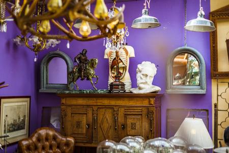 antiques: Decorative interior sculpture in antique shop, Bruxelles, Belgium Stock Photo