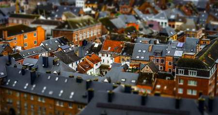 Tilt-shift panoramic aerial view of Namur, spring day, Belgium Stock Photo