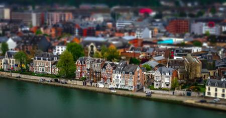 Tilt-shift panoramic aerial view of Namur, spring day, Belgium Editorial