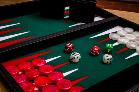 doubling: Box for playing tables with green inside surface, nards Stock Photo