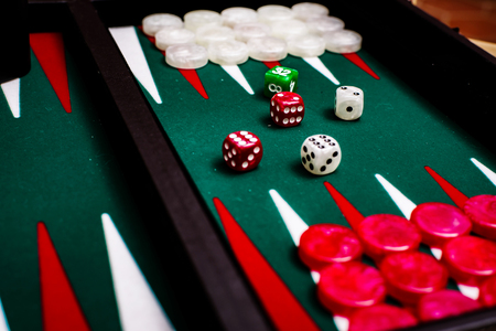 Box for playing tables with green inside surface, nards Stock Photo - 83080583