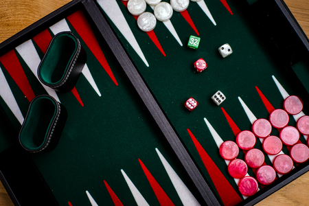 Box for playing tables with green inside surface, nards Stock Photo