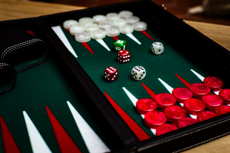 Box for playing tables with green inside surface, nards Stock Photo - 83125720