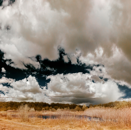 Natural landscape infrared panoramic view with beautiful clouds, Belgium