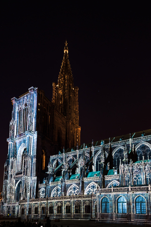 Beautiful colors of highlighted Notre Dame Cathedral in Strasbourg, Alsace, France Stock Photo