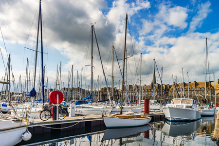 Many little boats and yachts in port of St-Malo, Brittany, France