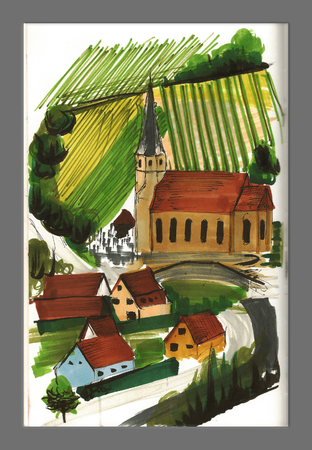 Countryside view illustration, church and vineyards, art work