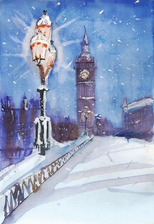 London night street view painting, streetlamp and Big Ben, art work