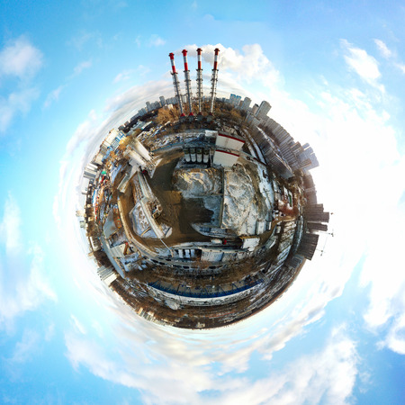 Little planet panoramic aerial view of industrial unhealthy zone near Moscow, Russia