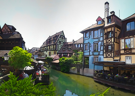 Traditional old french city street view with watercolored and outlined filtering, Colmar, Alsace, France Imagens