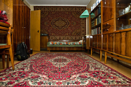 Vintage soviet room interior, typical flat in Moscow, Russia