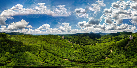 360-degree panoramic aerial view from drone to Vosges mountains and ruins of medieval castle Spesbourg, Andlau, Alsace, France.