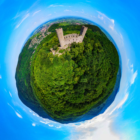 Medieavl ruins of Andlau castle on the hill in Alsace, panoramic aerial view Stock Photo