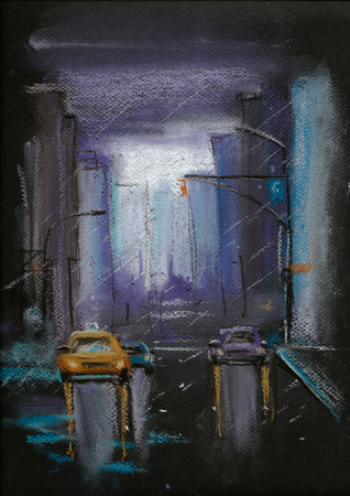 Night street in the city pastel painting, urban style drawing