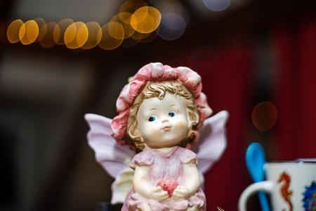 Beautiful dolls on sunday brocante in small alsacien village, France Stockfoto