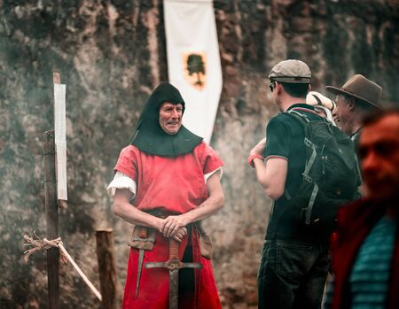 Editorial: 9th June 2019: Chatenois, France. Fancy-dress medieval carnival under fortress walls in Alsace.