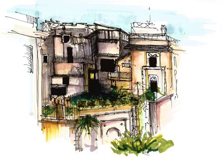 Elements Italy cities. Painted sketch, art work and decoration. Postcard. 写真素材