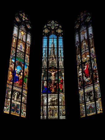 Elisabeth church in Basel, interior view, majestic architecture, Swiss Archivio Fotografico