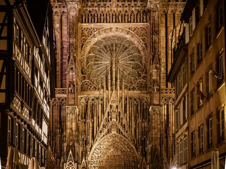 Notre Dame Cathedral in Strasbourg night view, France