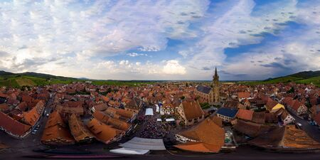 Panoramic 360-degree spherical view of village Dambach-la-ville in Alsace. Made from drone.