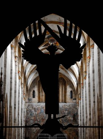 Stunning interior of the tallest cathedral in Germany, the cathedral of the city of Ulm. 版權商用圖片