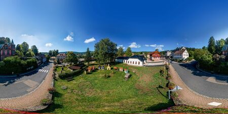 Aerial drone 360-degree panoramic view of Le Hohwald. Alsace, France.