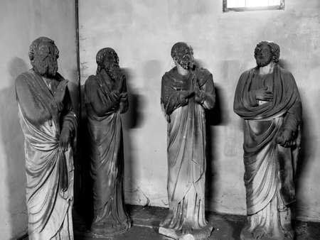 Sculptures on religious themes, artfully carved from stone many years ago. France.