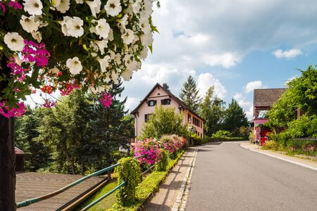 Flowering village in Alsace. Decoration of street lamps with potted flowers and plants. France