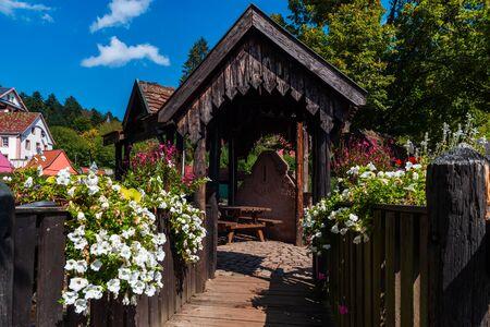 Flowering village in Alsace. Sunlit streets full of flowers. France