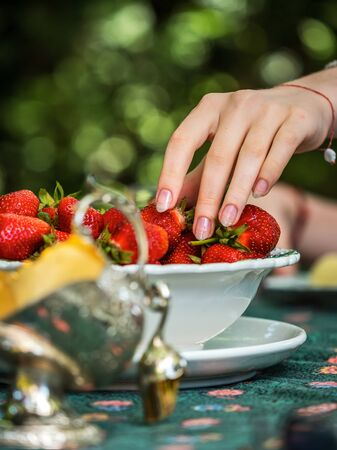 Beautiful female hand with manicure takes a strawberry from a plate. Beautifully laid table. Dessert. Sunlight. Youth and freshness. France Standard-Bild