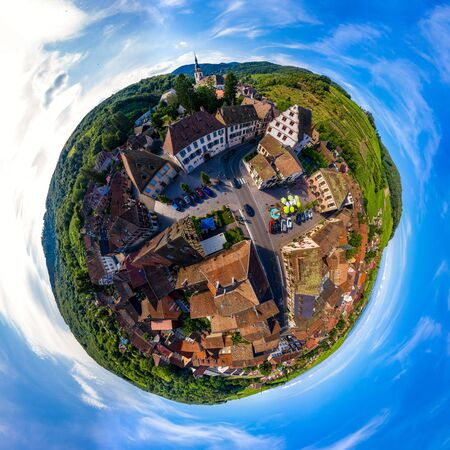 Abstract image of a small planet. Taken from the drone. Circular panorama. France Stock Photo