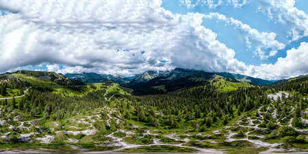 Alpine 360-degree panoramic view from drone, summer day Banco de Imagens