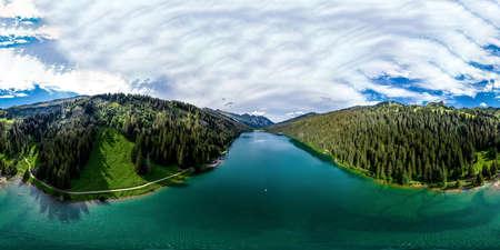 Alpine 360-degree panoramic view from drone, summer day 版權商用圖片
