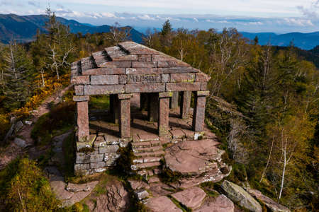 Monument on the Donon mountain peak in the Vosges. Historic sacred place where the rituals of the Celts and Proto-Celts took place. France.
