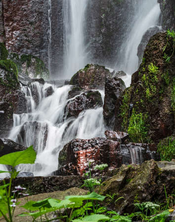 Nideck waterfall near the ruins of the medieval castle in Alsace, France