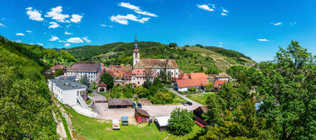 Panoramic view of the stunning village Andlau in Alsace. Slopes with ripening grapes. Great views of the Vosges mountains. Idyll and grace Editorial
