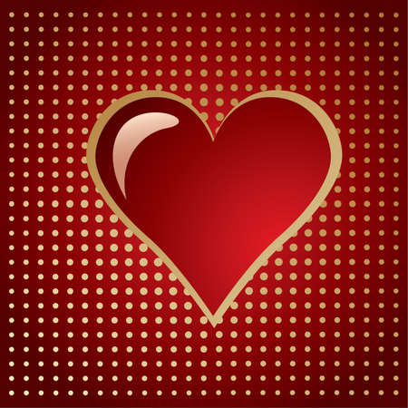 Red golden Heart with speck on a gradient halftone Vector