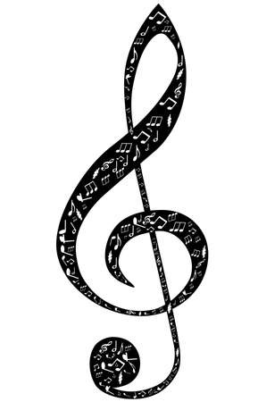 clef: Treble clef design by musical notes on a white background