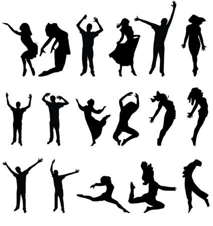 dancers silhouette: dance many people silhouette. vector illustration Illustration