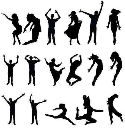 traditional dance: danza molte persone silhouette. illustrazione vettoriale Vettoriali