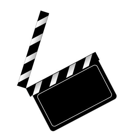 flick: Clapper board on a white background Illustration