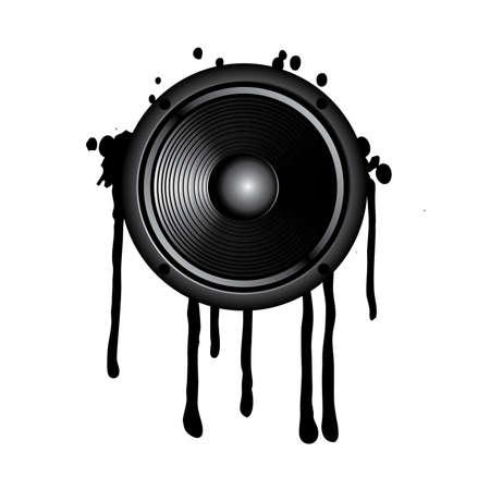 high volume: speaker and splash on a white background