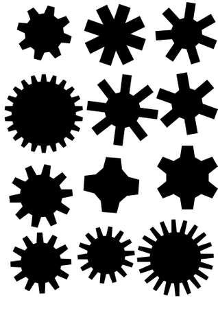 factory automation: poster with gearwheel in black and white color