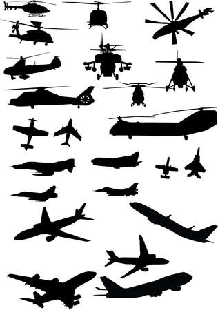 assorted helicopter and airplane silhouettes in black Vector