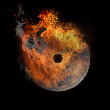 vinyl in fire, very hot illustration on black Stock Photo