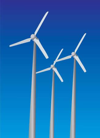Wind power plants on sky background blue color