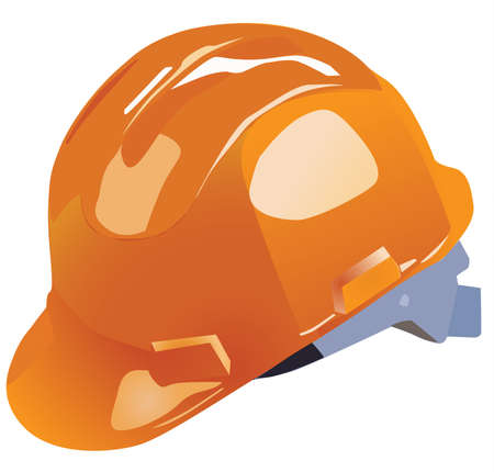 vector sign under construction: orange vector hardhat construction work on a white background