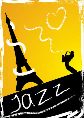 saxophonist: Abstract design with saxophonist and eiffel Tower