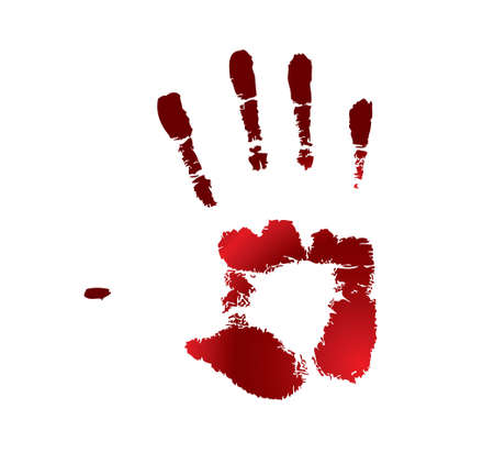 fingerprinted: One red handprint on a white background