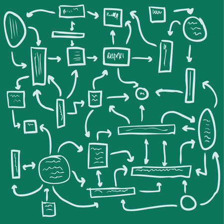 garabatos: plan de gesti�n sobre un fondo verde, perfecta ilustraci�n